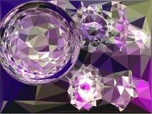 Vidro da bola da decoração, Natal, bola de vidro da decoração, Natal, gráficos poligonais, projeto do vetor Bola roxa ilustração royalty free