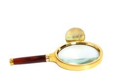 Vidro da lente de aumento com a moeda dourada do bitcoin Imagem de Stock Royalty Free