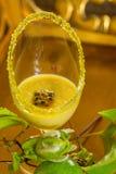 Vidro da musse do fruto de paixão, com fruto de paixão verde fresco fotos de stock