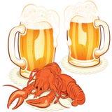 Vidro das lagostas e de vinho com a cerveja Foto de Stock
