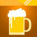 Vidro de cerveja completo com bolhas Fotos de Stock Royalty Free