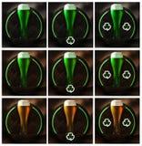 Vidro de cerveja do dia de St Patrick na madeira e no fundo rústico imagens de stock royalty free