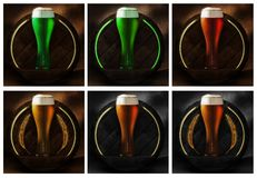 Vidro de cerveja na madeira e no fundo rústico fotos de stock