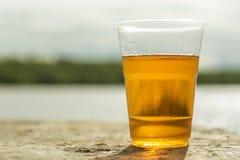 Vidro de cerveja plástico no concreto No fundo do river? próximo acima Copie o espa?o imagens de stock royalty free