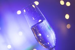 Vidro de Champagne na barra do partido de disco Foto de Stock