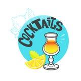 Vidro de cocktail cartaz e inseto do conceito da barra ilustração do vetor