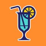 Vidro de cocktail com limão ilustração do vetor