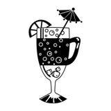 Vidro de cocktail com limão e palha bebendo Ilustração do vetor Fotos de Stock