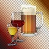 Vidro de cocktail, vidro de vinho, caneca com cerveja foto de stock
