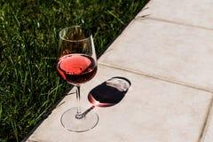 Vidro de Rose Wine na luz natural do jardim Imagens de Stock Royalty Free