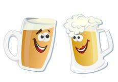 Vidro de sorriso do herói dos desenhos animados da cerveja ilustração do vetor