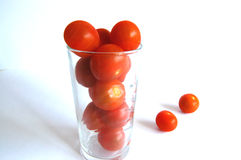 Vidro de tomates de cereja Imagem de Stock