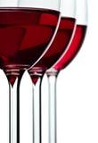 Vidro de Trhee com vinho vermelho Foto de Stock Royalty Free
