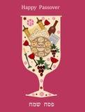 Vidro de vinho abstrato para a páscoa judaica Fotografia de Stock