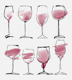 Vidro de vinho ajustado - a coleção esboçou copos de vinho e silhueta da aquarela Fotografia de Stock Royalty Free