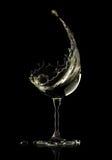 Vidro de vinho branco no fundo preto Imagens de Stock Royalty Free