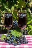 Vidro de vinho com vinho tinto na tabela Fotografia de Stock