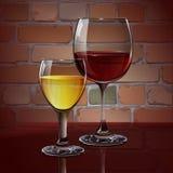Vidro de vinho de vidro com vinho tinto, vinho branco, cocktail, cidra Um realístico, transparente Parede de tijolo Vetor ilustração do vetor