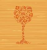 Vidro de vinho decorativo do vetor Fotografia de Stock Royalty Free