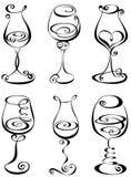 Vidro de vinho estilizado ajustado ilustração stock