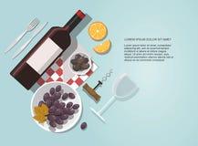 Vidro de vinho, garrafa de vinho, azeitonas e composição das uvas no fundo azul ilustração stock