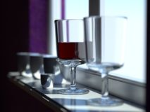 Vidro de vinho pelo indicador fotos de stock