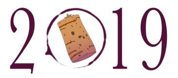 Vidro de vinho Ring For 2019 Imagem de Stock Royalty Free