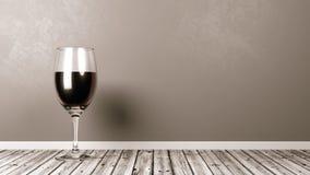 Vidro de vinho tinto no assoalho de madeira rústico Fotografia de Stock Royalty Free