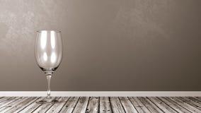 Vidro de vinho vazio no assoalho de madeira rústico Imagem de Stock