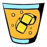 Vidro do ícone do uísque e do gelo, desenhos animados do ícone ilustração stock