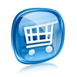 Vidro do azul do ícone do carrinho de compras Fotografia de Stock
