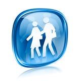 Vidro do azul do ícone dos povos Fotografia de Stock Royalty Free