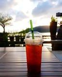 Vidro do chá do limão do gelo no fundo da natureza Fotografia de Stock Royalty Free