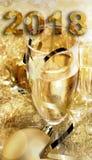 Vidro do champanhe pelo ano novo Foto de Stock Royalty Free