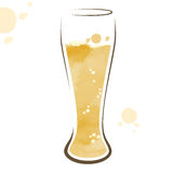 Vidro do desenho da aquarela da cerveja Fotos de Stock Royalty Free