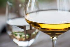 Vidro do fim do vinho branco de Chardonnay acima imagem de stock royalty free