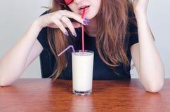 Vidro do leite Fotos de Stock