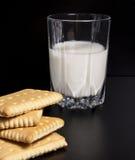 Vidro do leite com biscoitos Imagens de Stock Royalty Free