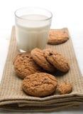 Vidro do leite com bolinhos Imagem de Stock Royalty Free