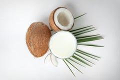 Vidro do leite de coco e das porcas frescas isolados foto de stock