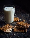 Vidro do leite e dos bolinhos Imagem de Stock