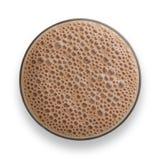 Vidro do milk shake do chocolate com bolhas espumosos imagens de stock royalty free
