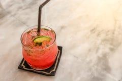 Vidro do perfurador suculento com o cubo de gelo decorado com parte de limão Fotos de Stock Royalty Free