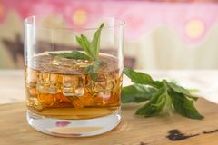 Vidro do rum com gelo e hortelã Fotografia de Stock