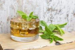 Vidro do rum com gelo e hortelã Imagens de Stock Royalty Free