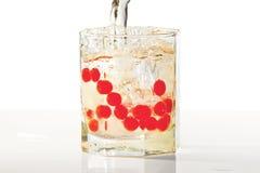 Vidro do rum, do gelo e de airelas vermelhas com respingo Fotos de Stock