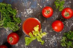 Vidro do suco de tomate Imagem de Stock Royalty Free