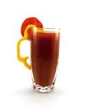 Vidro do suco de tomate com uma pimenta Fotos de Stock