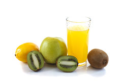 Vidro do suco e do fruto Foto de Stock