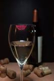 Vidro do vinho branco com frasco imagem de stock